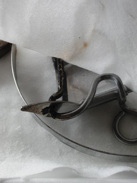 パイレックス スキレットのハンドルの汚れ