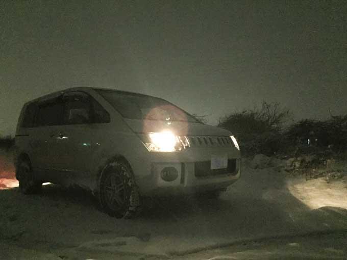 ハンコック スタッドレスタイヤで大雪警報の中を走ったデリカ
