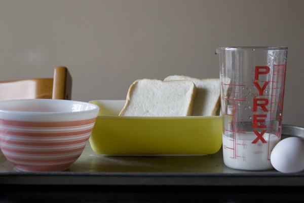 フレンチトーストを作るための調理器具類 すべてPYREX